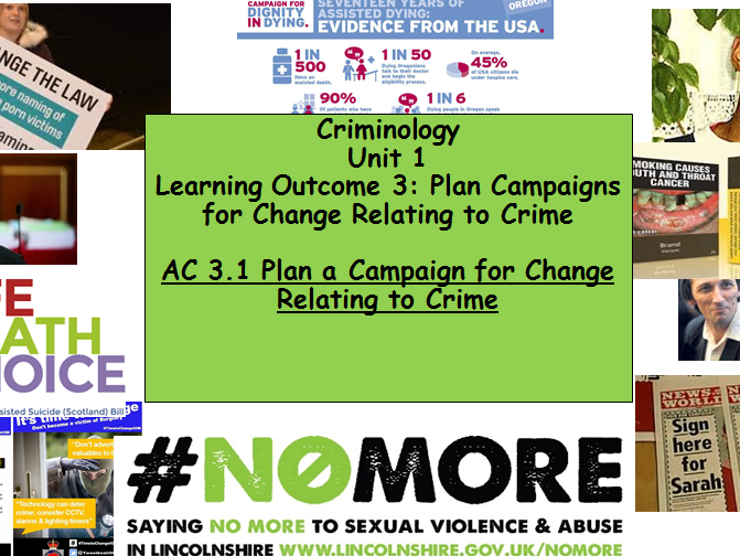 Criminology Eduqas/WJEC- Level 3 (New Spec)Unit 1 - Campaign for Change Lesson Resources