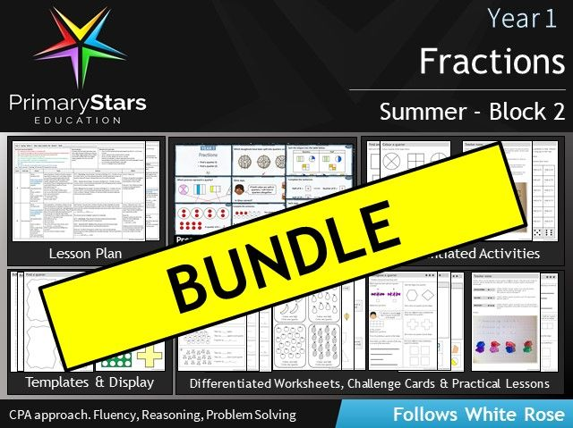 YEAR 1 - Fractions - White Rose - COMPLETE Block 2 - Summer BUNDLE