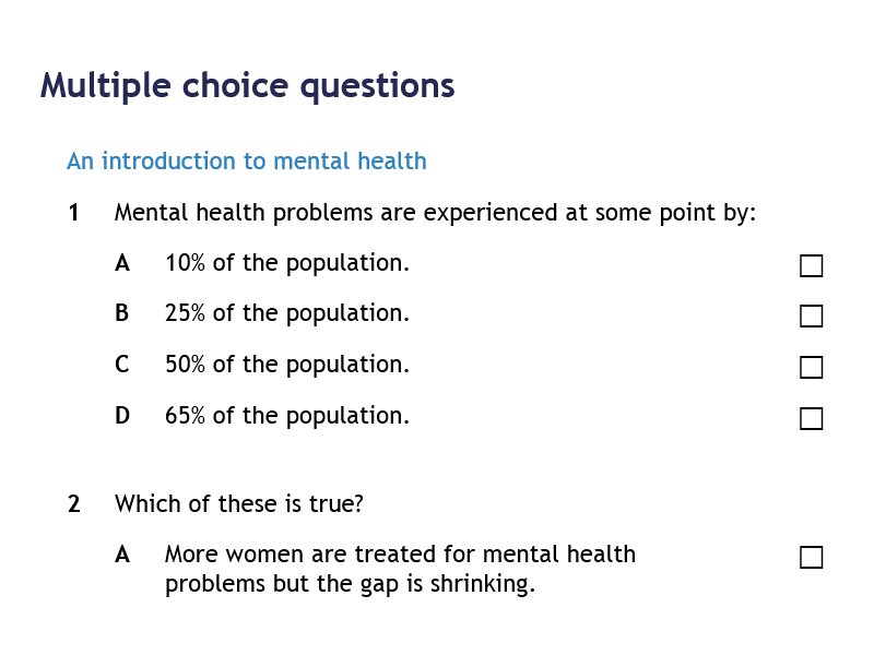 AQA GCSE Psychology - Psychological Problems - Multiple Choice Questions
