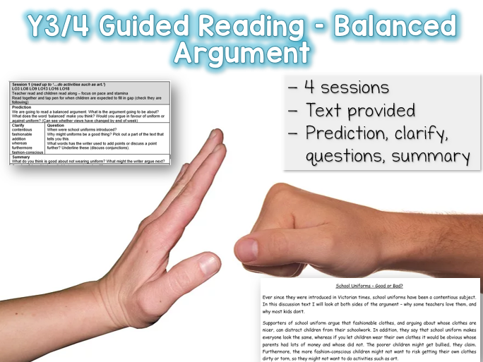 Y3/4 Guided Reading Balanced Argument - 4 sessions