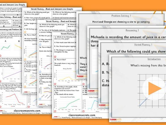 FREE Year 6 Read and Interpret Line Graphs Summer Block 3 Lesson Pack