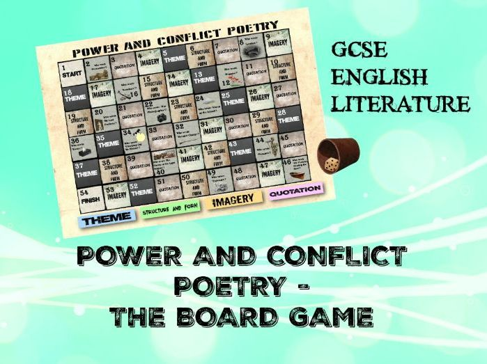 POWER AND CONFLICT POETRY: THE BOARD GAME. AQA GCSE ENGLISH LITERATURE ANTHOLOGY