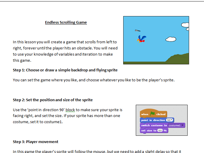 KS3 Endless scrolling game scratch tutorial