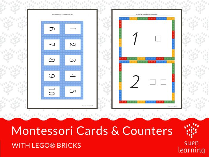 Montessori cards & counters 1 to 10 using Lego® bricks