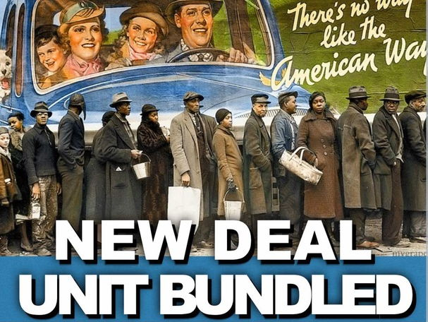 New Deal Unit- PPTs w/Video Links, Primary Source Worksheets, Test, Writing Assignment & Project