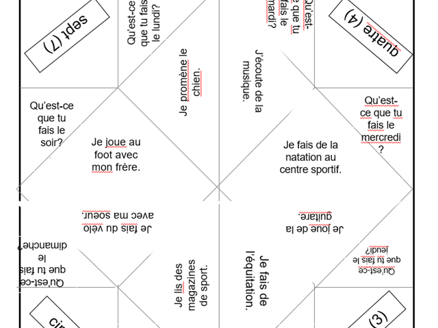 Chatterbox template for leisure activities in French -questions and answers.