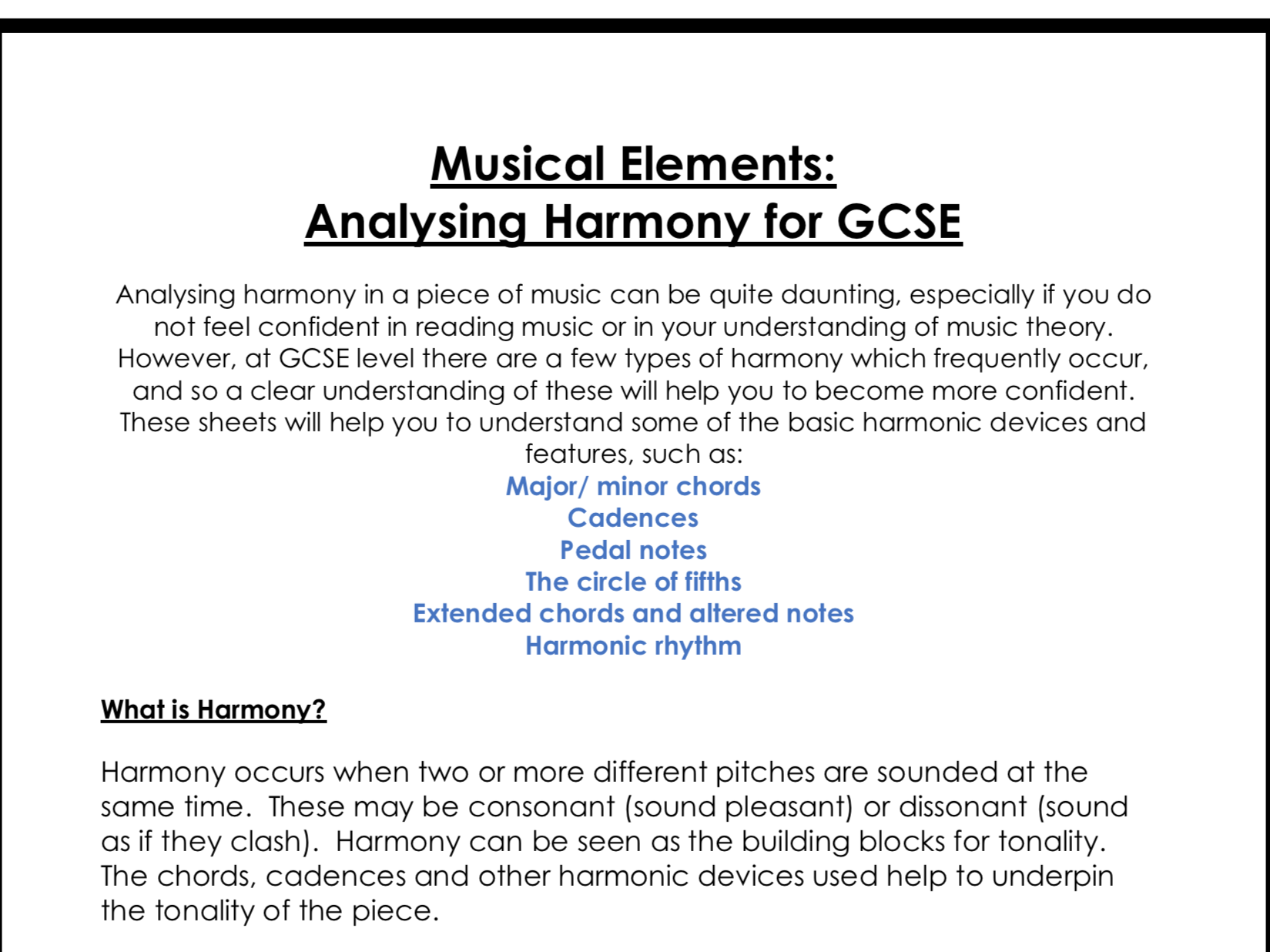Analysing musical elements for GCSE Music