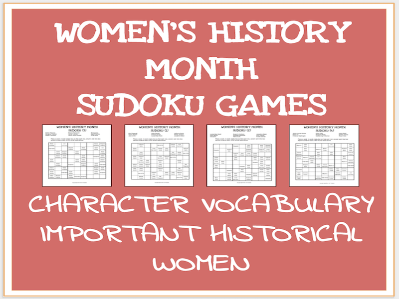 Women's history month sudoku puzzles