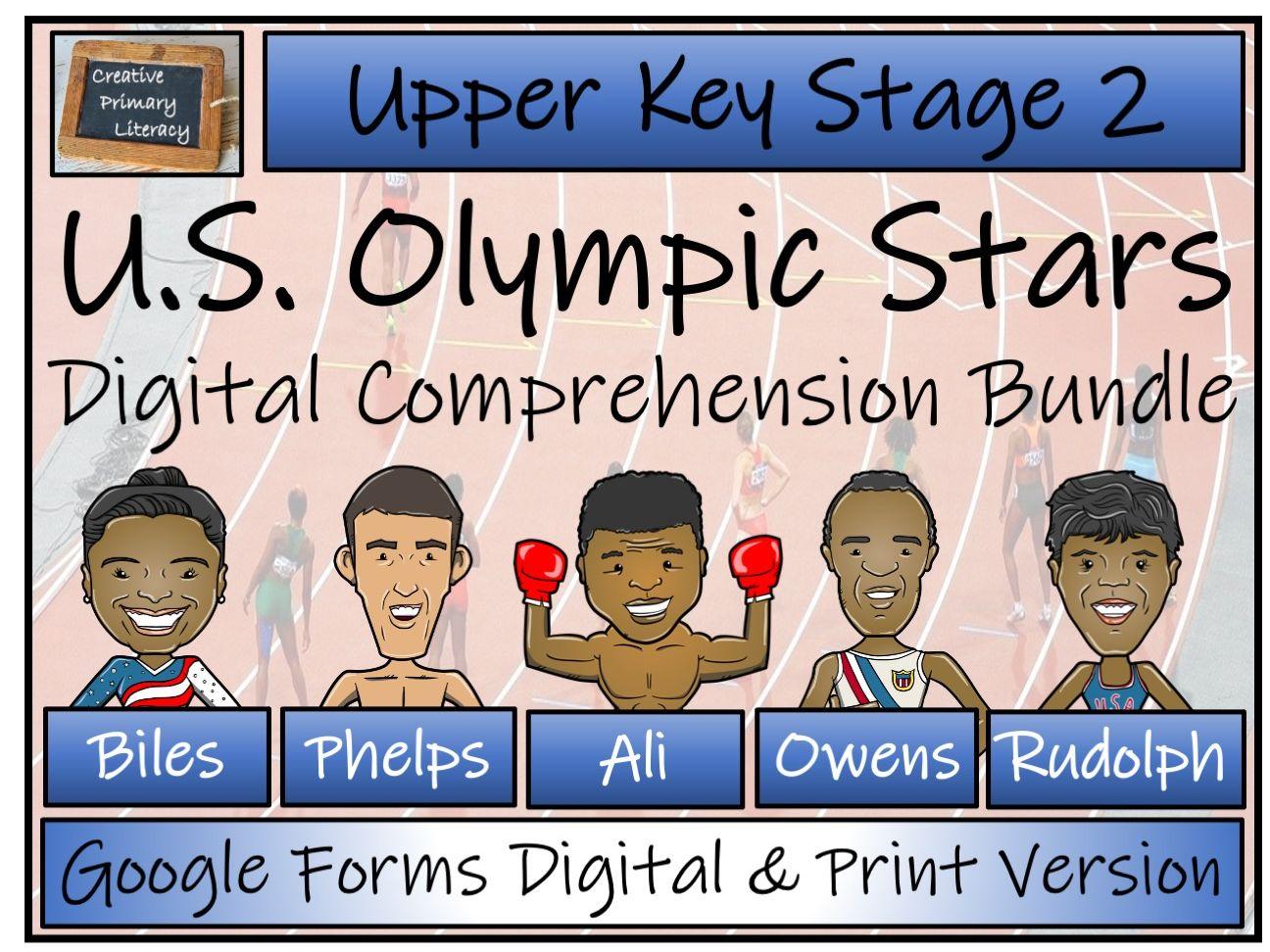 UKS2 U.S. Olympic Stars Reading Comprehension Bundle | Digital & Print