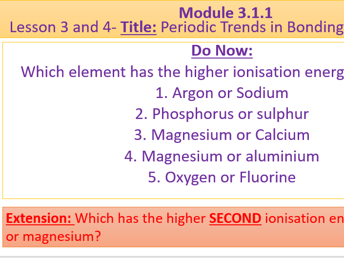 A Level Chemistry OCR A- Module 3.1.1- Lesson 3 and 4 Periodic Trends and Bonding