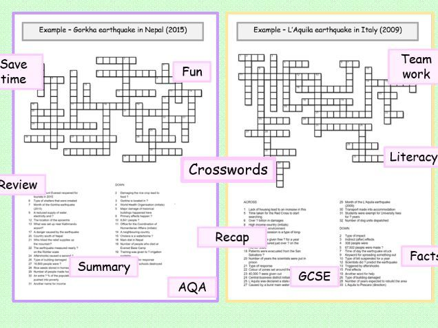 AQA crosswords Italy & Nepal earthquakes Gorkha  L'Aquila  example GCSE geography ks3 ks4