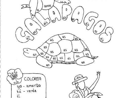 Spanish Color by conjugation AR-verb conjugation Galapagos no prep practice