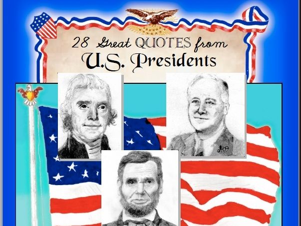 """28 Great Quotes from US Presidents"" Cursive Penmanship"