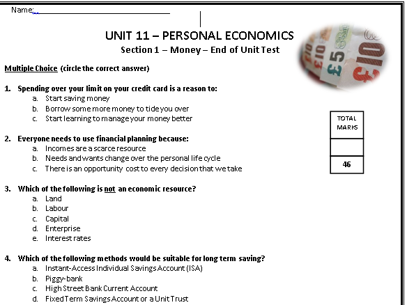 AQA GCSE Economics Unit 11 Money Section 'in-class assessment'
