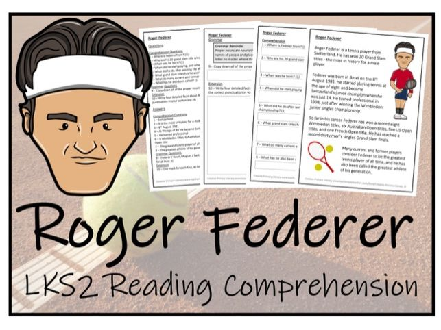 LKS2 Literacy - Roger Federer Reading Comprehension Activity
