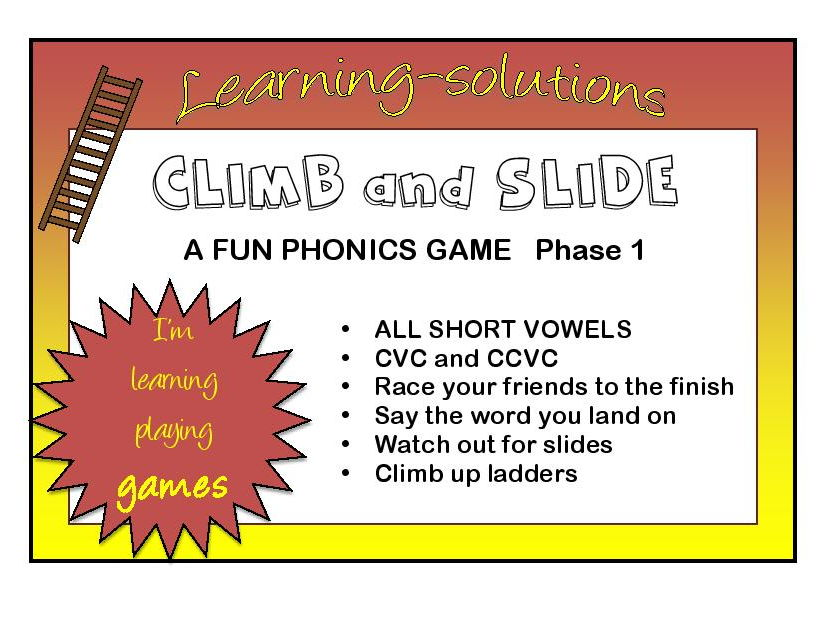 CLIMB and SLIDE BOARD GAMES - Phonics - Phase 1 - Short Vowels