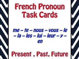 French Pronouns Task Cards Version 1 - Pronoms Français - Cartes à Tâches