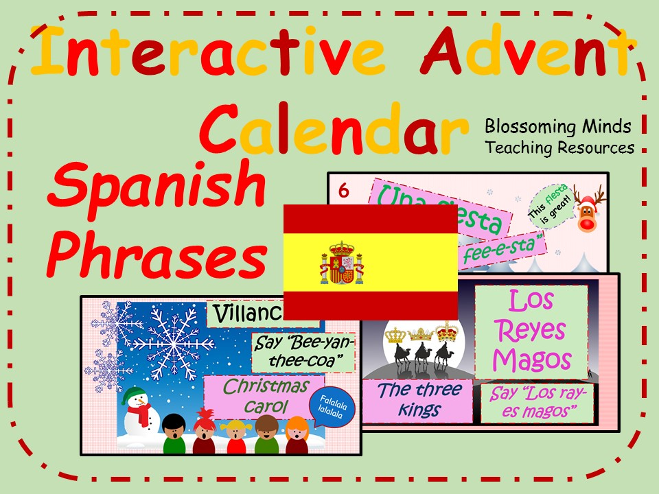 Interactive Advent Calendar - Spanish Christmas Phrases - La Navidad