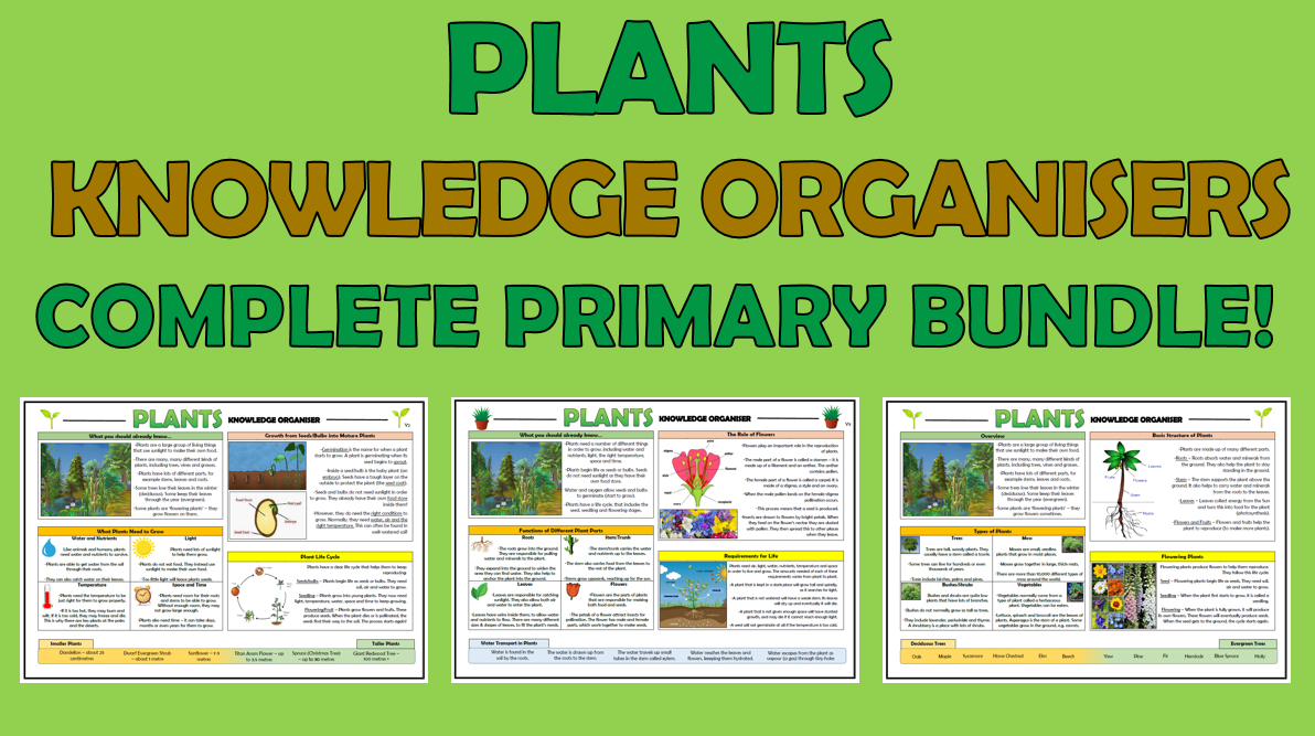 Plants - Complete Primary Science Knowledge Organisers Bundle!