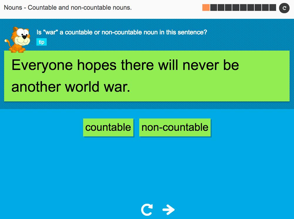 Countable and non-countable nouns Set 2 - Interactive Activity - KS3 Spag