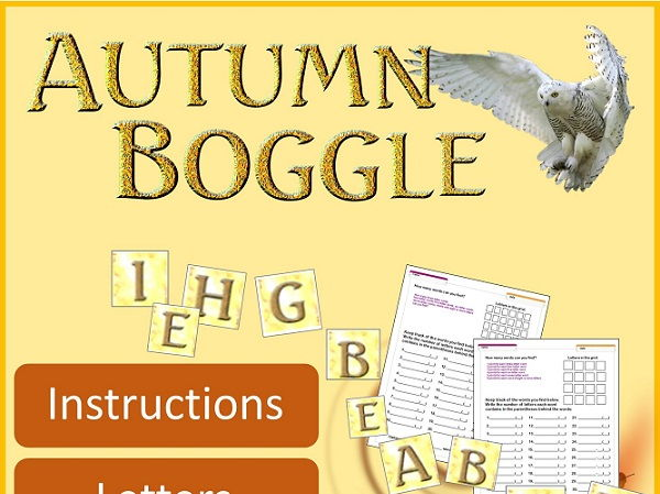 Autumn Boggle Bulletin Board SET for ANY classroom! K-12