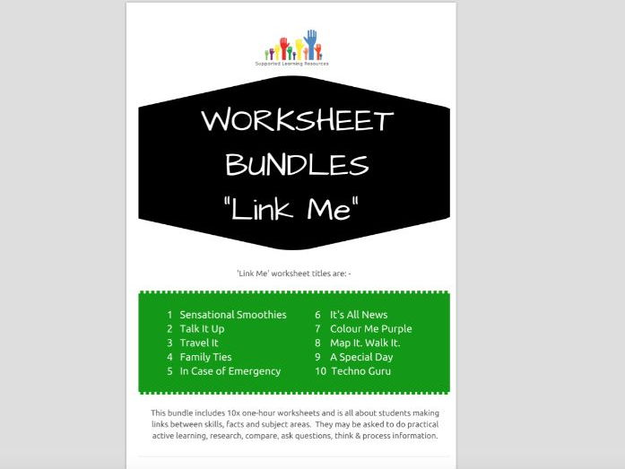 SPECIAL EDUCATION x10 LINK ME worksheets - linking subjects, topics, facts, skills