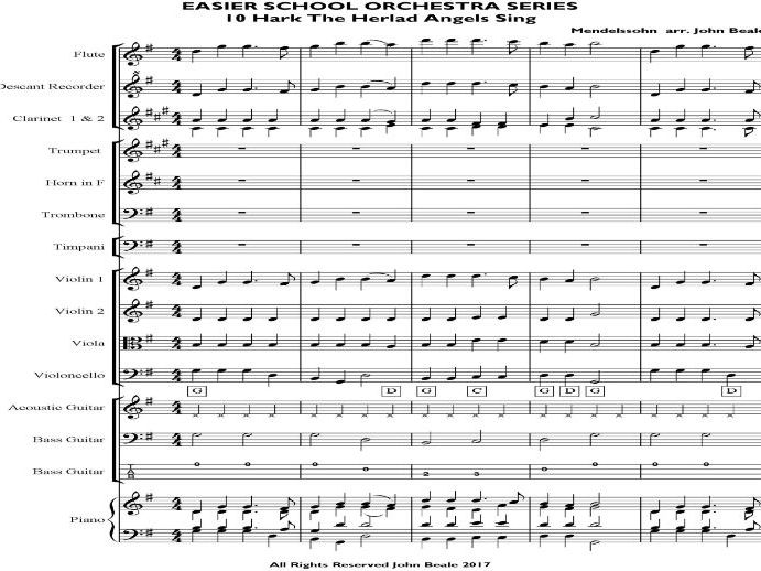 Easier School Orchestra Series 10 Hark The Herald Angels Sing