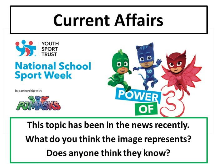 National School Sport Week - Current Affairs Form Time Activity