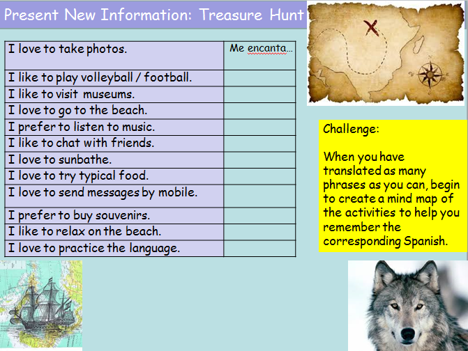 KS3 Spanish Holiday Activities with Infinitive Structures