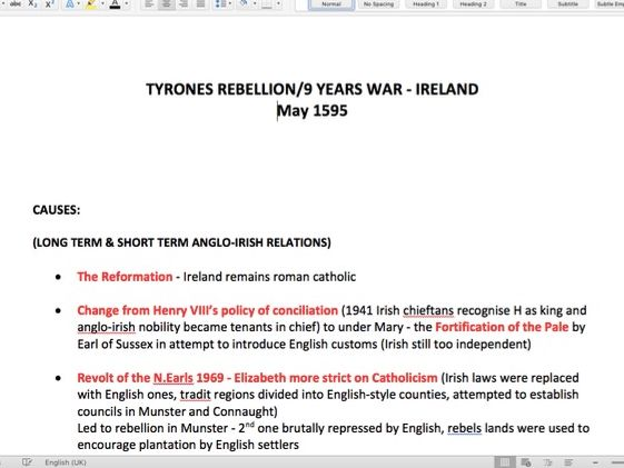 Tyrone's Rebellion Notes - A-Level History - Rebellion & Disorder under the Tudors 1485-1603 PAPER 3