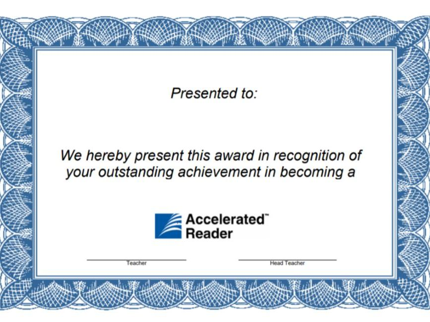 Blank Accerelated Reader Certificate