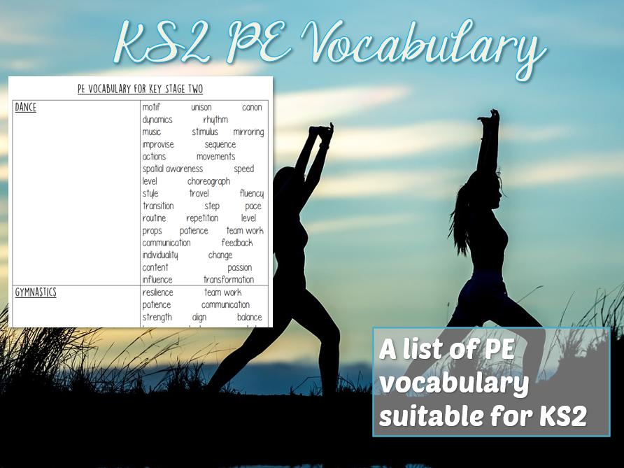 PE Vocabulary Grid for KS2