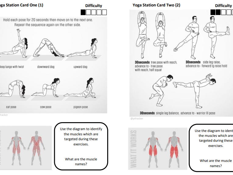 Yoga Fitness Station Cards
