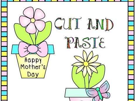 Cut and Paste Mother's Day Crafts Flower Pot of Flowers