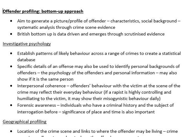 AQA Psychology Year 2 Forensic Psychology comprehensive notes in full