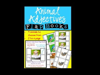 Animal Adjectives - Flap Books - Parts of Speech - Grammar - Adjectives