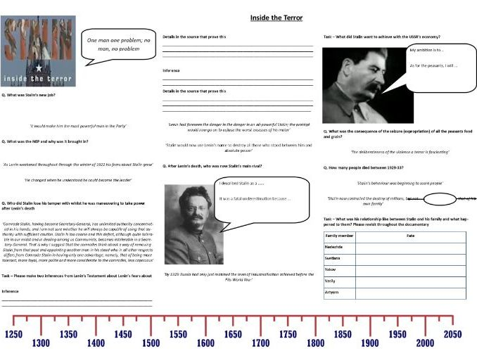 Stalin: Inside the Terror - Worksheet to support the BBC Documentary