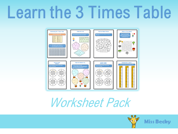 3 Times Table Worksheet Pack