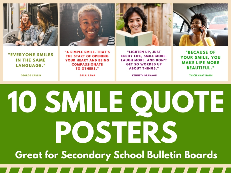 10 Posters for Bulletin Boards Featuring Quotes About Smiling!