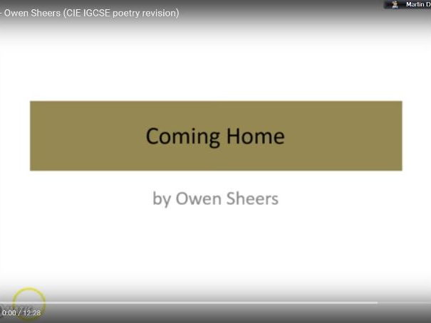 'Coming Home' - Owen Sheers (CIE IGCSE Literature 0486, 'Songs of Ourselves')