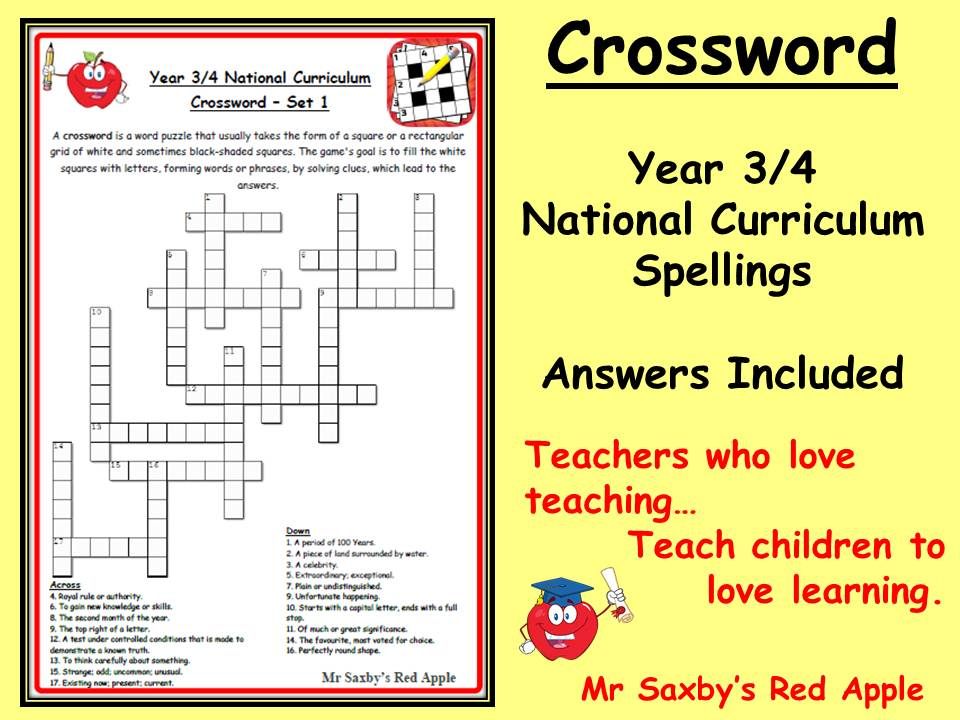 KS2 Crossword year 3/4 spelling national curriculum answers included 18 words Set 4