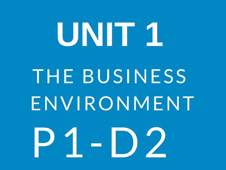 BTEC Business Level 3 Unit 1 The Business Environment Complete