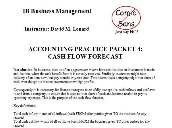 IB Business Management Accounting & Finance Packet 4: Cash Flow Forecast