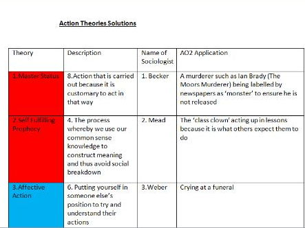 A2 Sociology Action Theories AO2 Application Review Activity