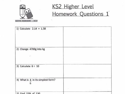KS2 Maths Higher Level Homework Worksheets