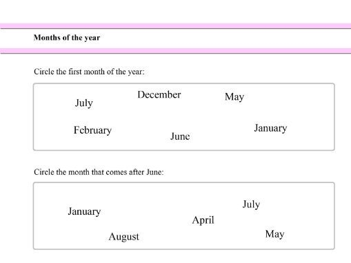 Months of the Year for Year 1 students