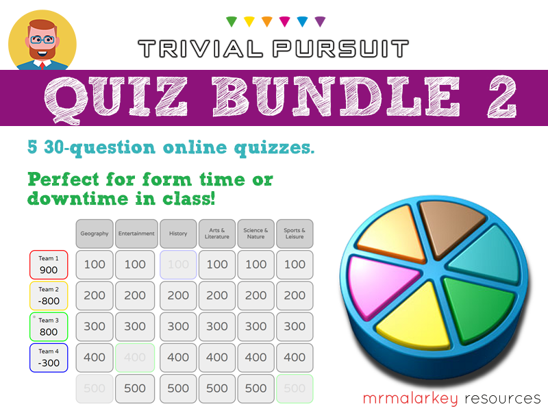 Quiz bundle #2: 5 Trivial Pursuit-style quizzes