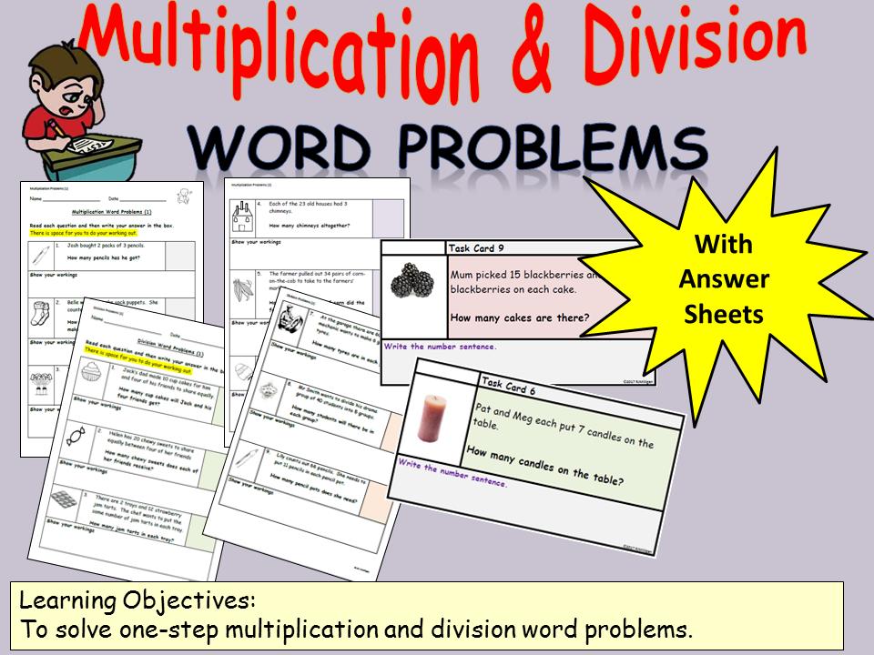 Multiplication/Division One-Step Word Problems: Presentation, Worksheets/Task Cards