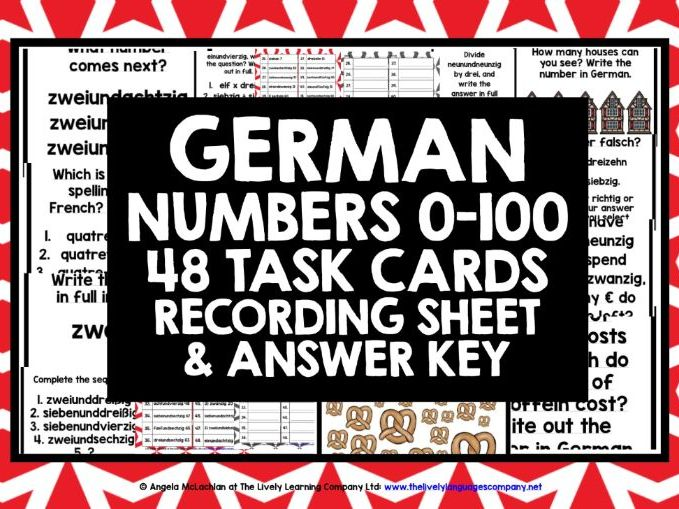 GERMAN NUMBERS 0-100 TASK CARDS
