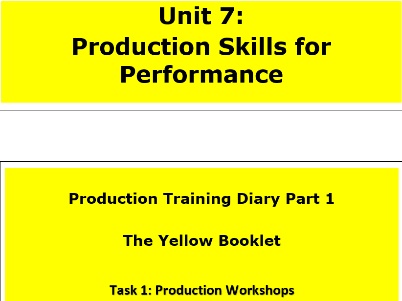 Btec First Performing Arts, Production Pathway - Production Booklet